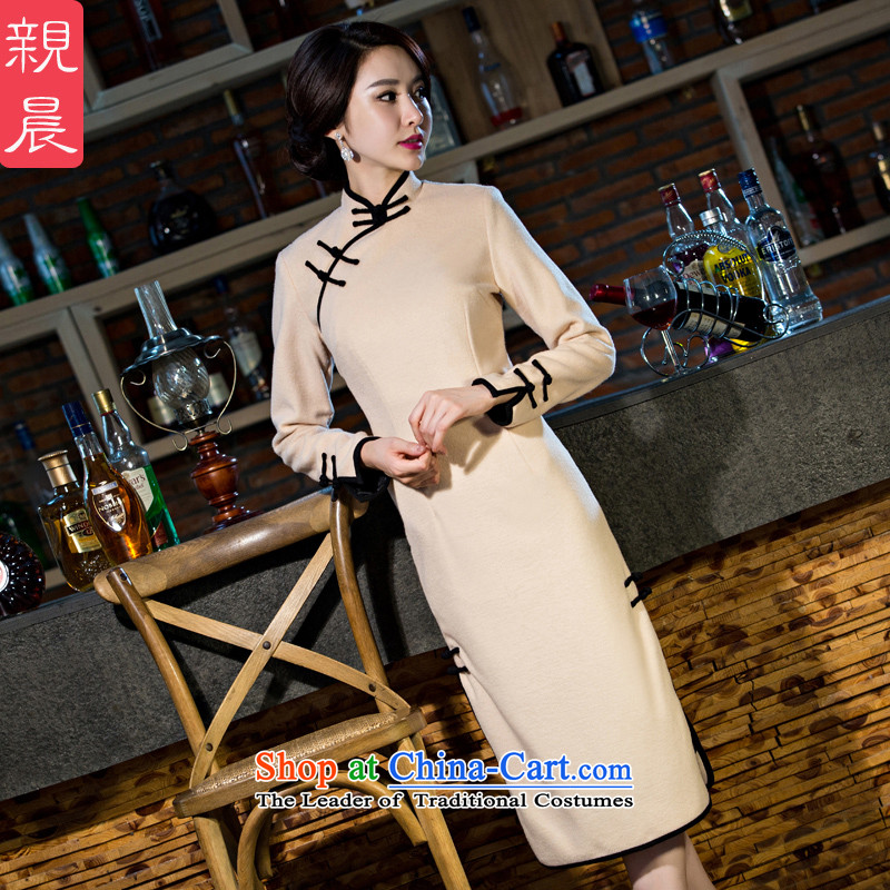 The cheongsam dress 2015 autumn and winter new stylish retro hair everyday? long large long-sleeved Ms. Sau San dresses beige�L-30 day shipping