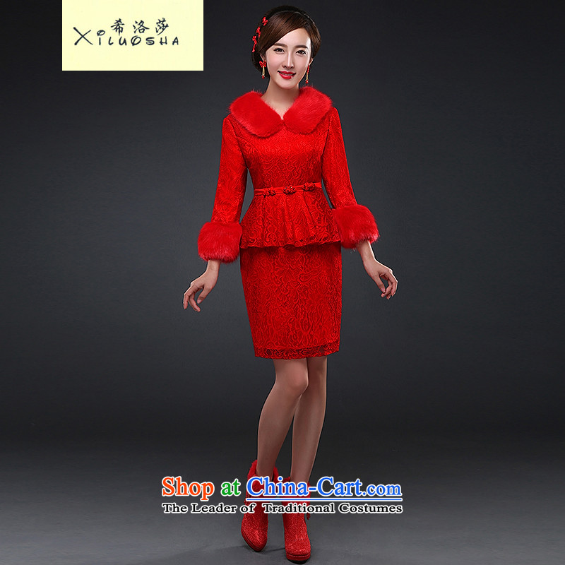 Hillo Lisa _XILUOSHA_ Bride bows service long-sleeved autumn qipao Chinese wedding dress bride replacing dress new marriage 2015 qipao lace red燣