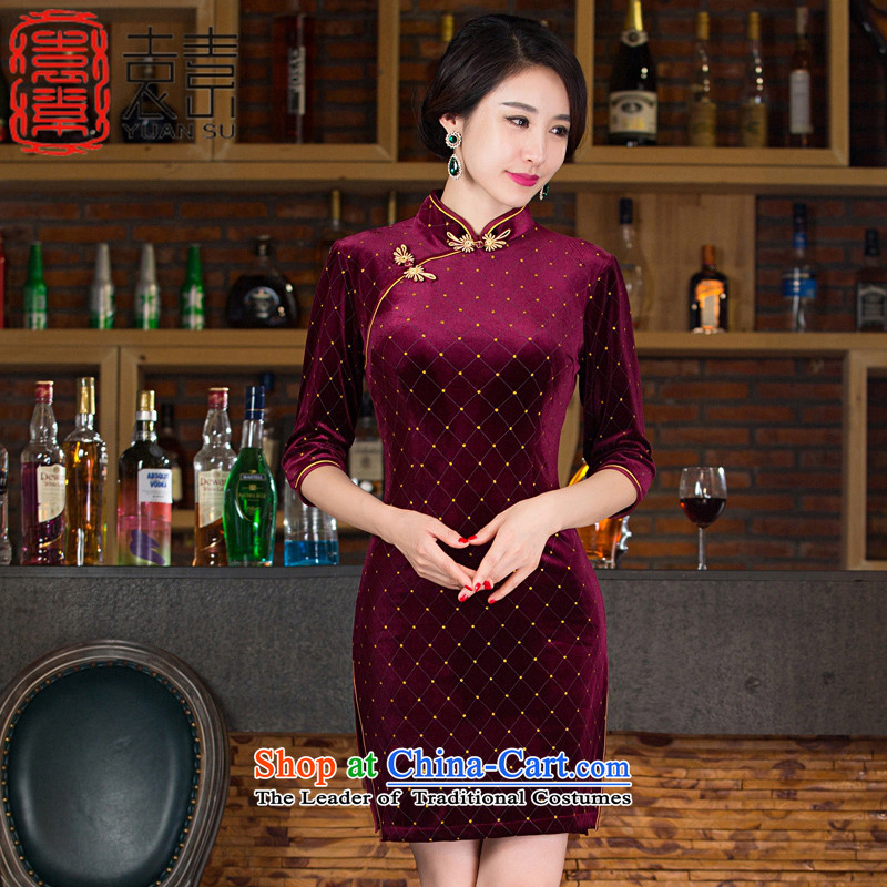 Yuan of fuser Arabic�15 Autumn Load Improvement scouring pads qipao cheongsam dress new stylish retro 7 cuff qipao Ms. dresses燤9539燿ark red燬