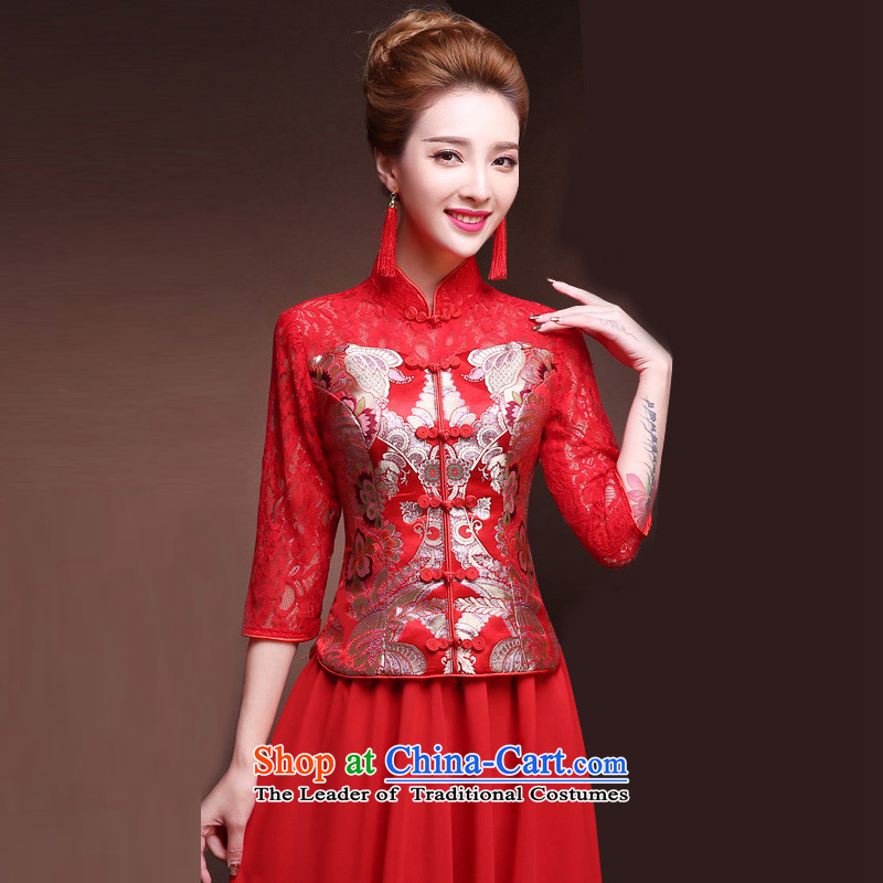 Time Syrian燽rides long slimming 2015 cheongsam red retro-soo wo serving Chinese marriage improved bows Services Mr Ronald cheongsam red燬