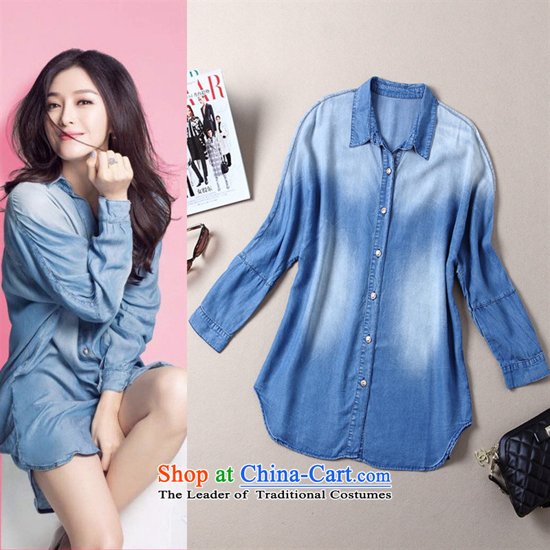 The Black Butterfly autumn 2015 new products for women in Europe and America with QIN LAN wash denim light blue shirt color photo of liberal燤