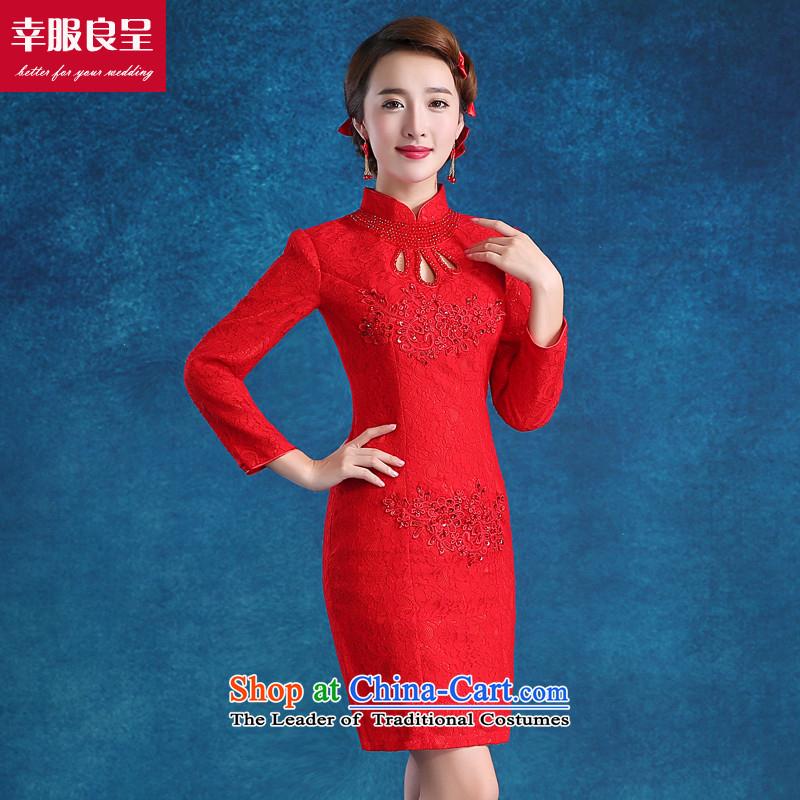 The bride with a drink service 2015 new short cheongsam, Sau San Chinese wedding dress autumn and winter red wedding dress short, 7 Cuff燣