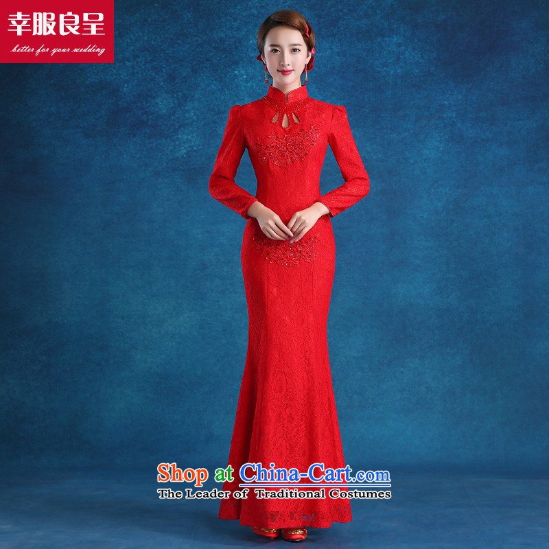 Red bride bows services 2015 new qipao autumn and winter wedding ...