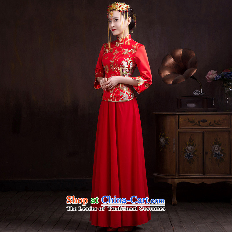 The Syrian Arab Republic�15 autumn and winter time new bride wedding dress long-sleeved qipao booking wedding dress long wedding dress collar bows qipao red seven services cuff style燤