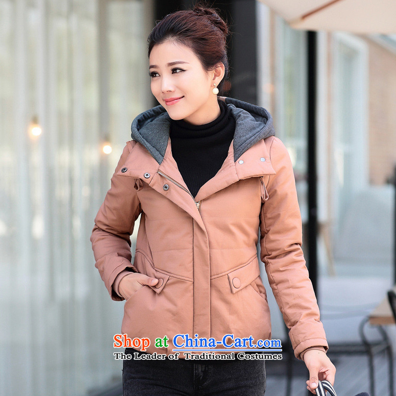 The Black Butterfly 2015 winter clothing new leisure large relaxd mother coat middle-aged female loaded with 30-40-year-old female wild cotton coat orange?M
