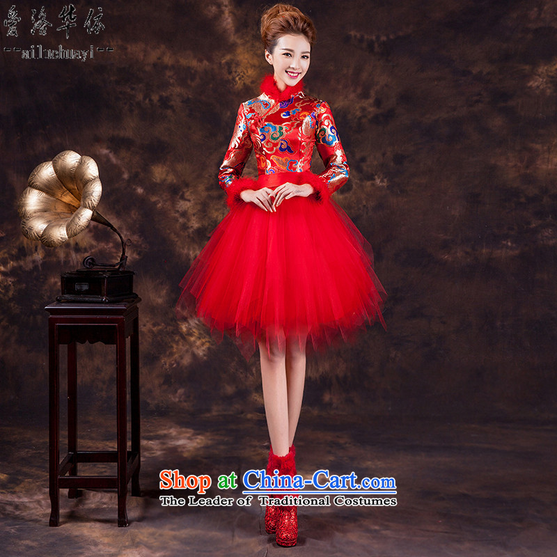 The new 2015 Service bows of autumn and winter cheongsam dress improved Chinese marriage will sister dress bon bon skirt wedding dresses qipao married late Lihong makeup long-sleeved red dragon燬