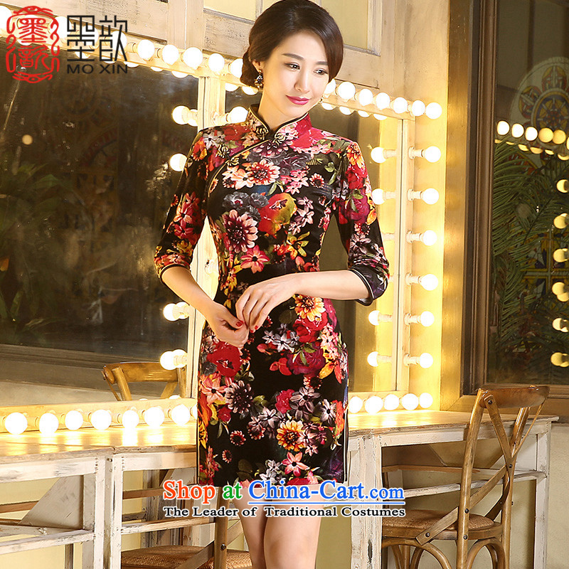 Ink ? Ju Xuan�15 China wind cheongsam dress fall inside the mother in older retro fitted qipao stylish new improved cheongsam dress ZA3R01 picture color燬