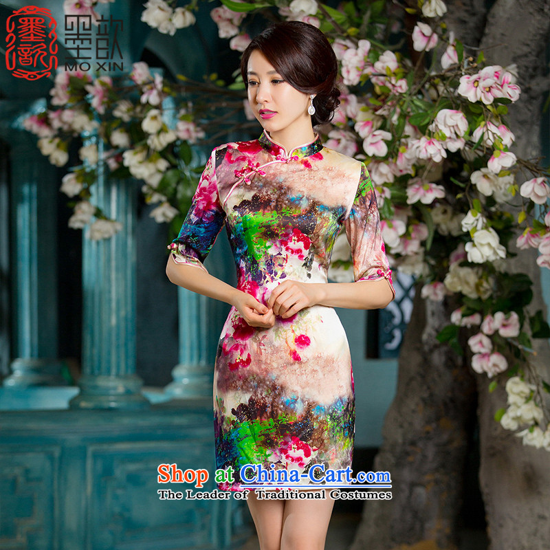 Ink ? Lingyao�15 retro heavyweight Silk Cheongsam autumn new stylish in Ms. cuff cheongsam dress cheongsam dress HY628A improved picture color燤