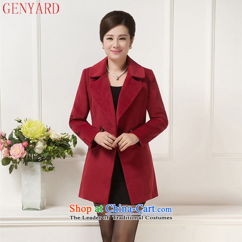 Genyard2015 new autumn and winter in older women's gross? Boxed middle-aged moms Stylish coat temperament Sau San a wool coat wine red燲L