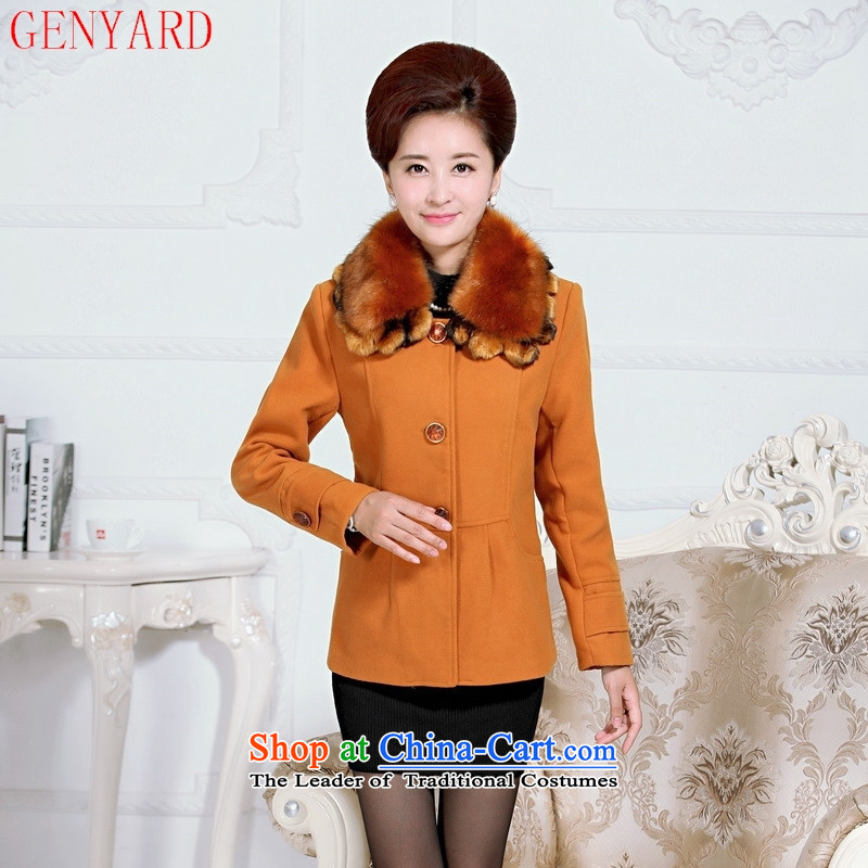 The elderly in the new GENYARD2015 WOMEN'S GROSS? large jacket boutique MOM pack with short of autumn lapel Sau San wine red T-shirt燲XL
