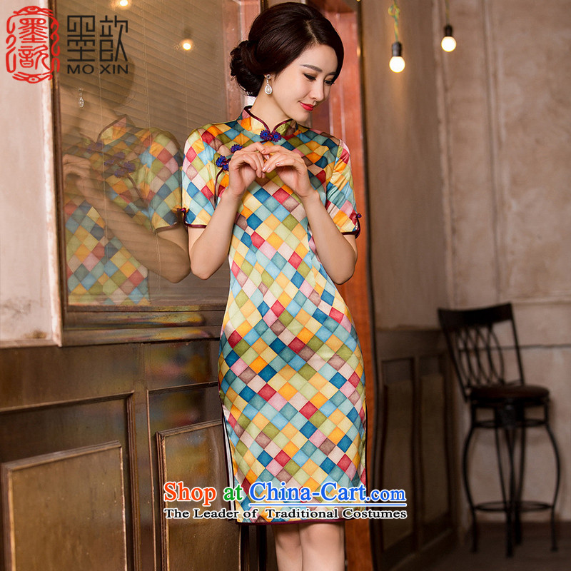 The ink to diamond�15 retro ? heavyweight silk cheongsam dress fall inside the new Silk Cheongsam improved qipao sauna dresses in double Cuff燙olor Picture HY657燲L