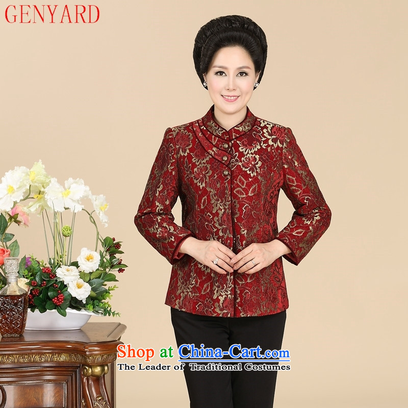 In the number of older women's GENYARD spring and autumn jacket new elderly mother replacing Tang dynasty collar China wind jacket embroidered red?L