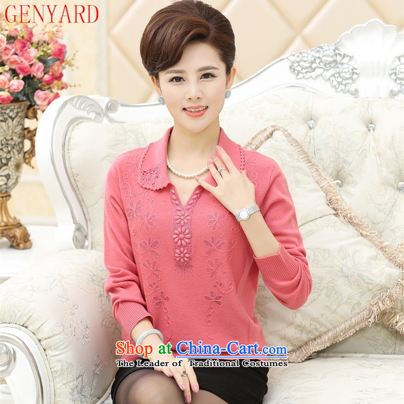 In the number of older women's GENYARD2015 fall inside the new long-sleeved Knitted Shirt middle-aged moms replacing reverse collar hedging woolen sweater in red�0