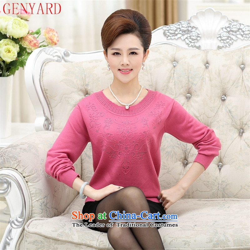 Load New GENYARD autumn large middle-aged women's long-sleeved sweater middle-aged moms casual shirts and Knitted Shirt color?120