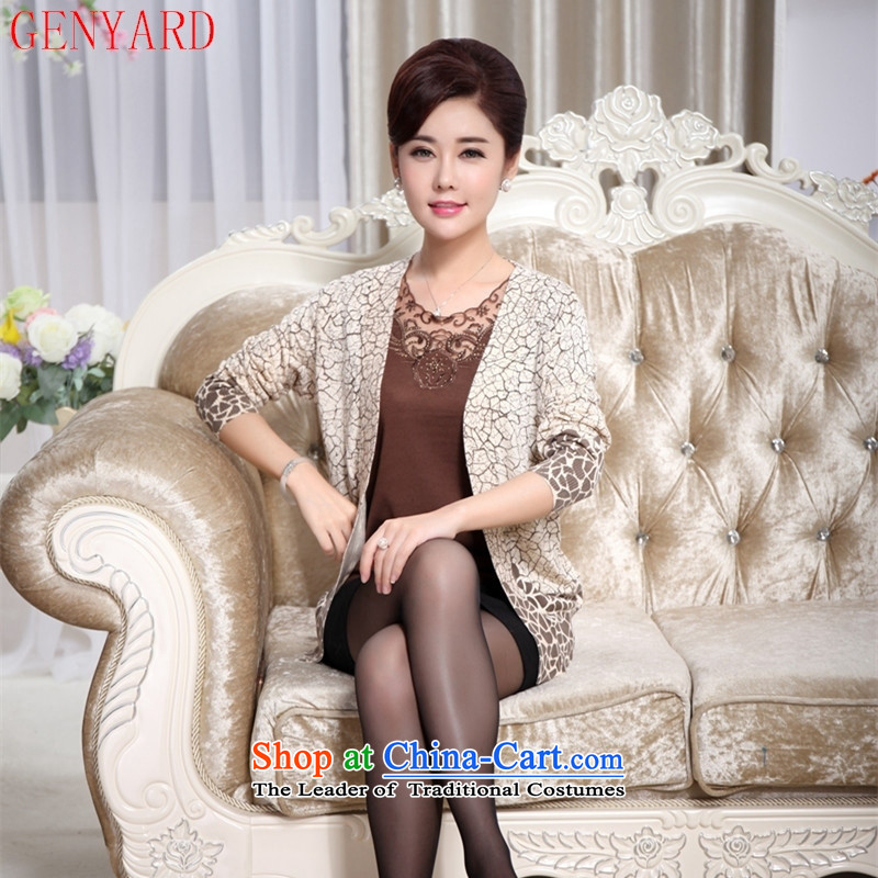 The fall of the new middle-aged GENYARD2015 large long-sleeved blouse embroidered in code of older women's clothes true autumn two kits of Knitted Shirt Red燲L