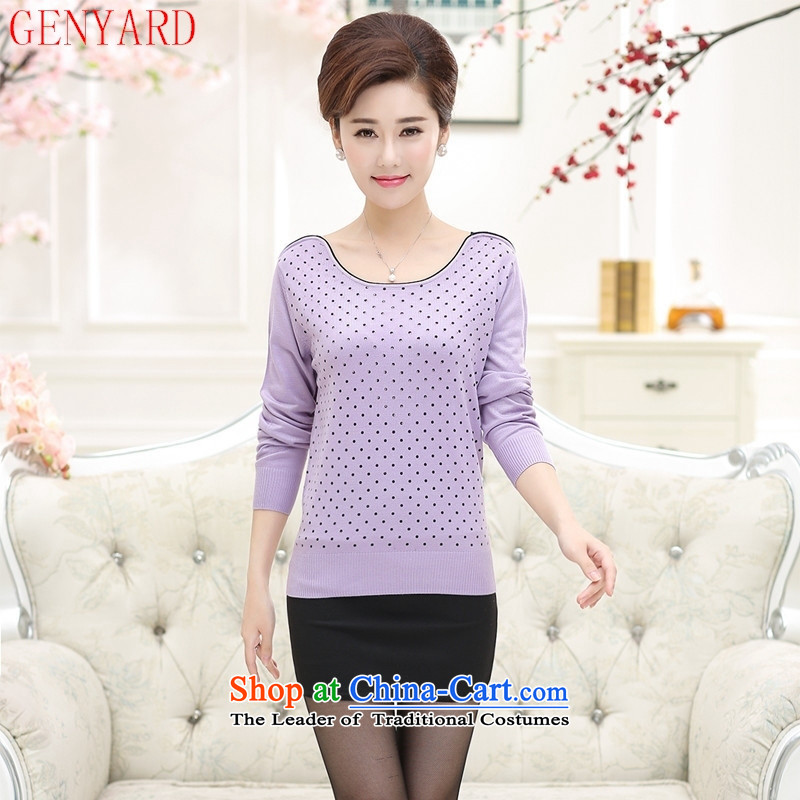 Autumn GENYARD2015 Women's clothes in older Knitted Shirt long-sleeved round-neck collar is smart casual relaxd large black shirt, forming the load mother燲XL