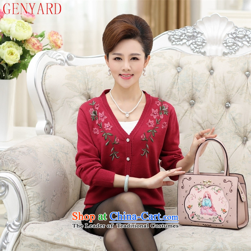 The fall of new, GENYARD2015 older Knitted Shirt large long-sleeved blouses and embroidered with mother wool cardigan pink shirt�120