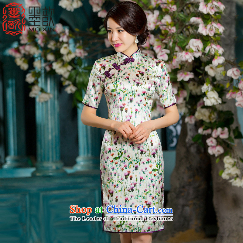 The Hon Audrey Eu 2015 new language 歆_ China wind female heavyweight Silk Cheongsam retro double in the Cuff qipao improvements Ms. cheongsam dress with color picture HY667 autumn L