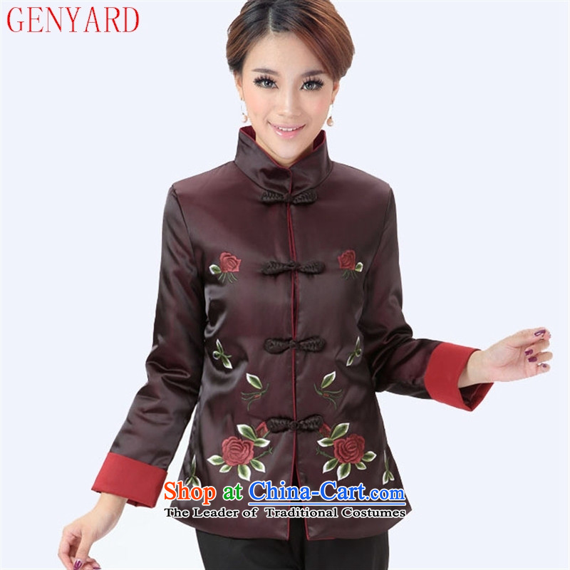 The elderly in the new GENYARD 茫镁貌芒 winter coats mother auspicious China wind Tang dynasty cotton coat embroidered robe mother red聽XXL