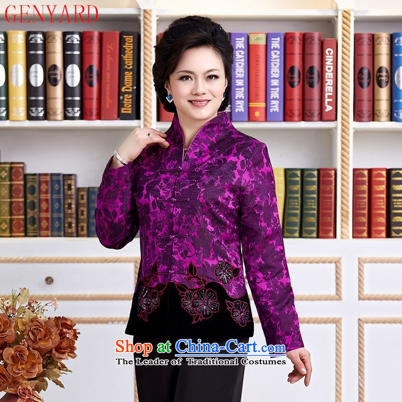 Tang Dynasty new GENYARD female spring and autumn China wind improved Han-embroidered dress shirt improved long-sleeved mother stylish with purple燲XXL