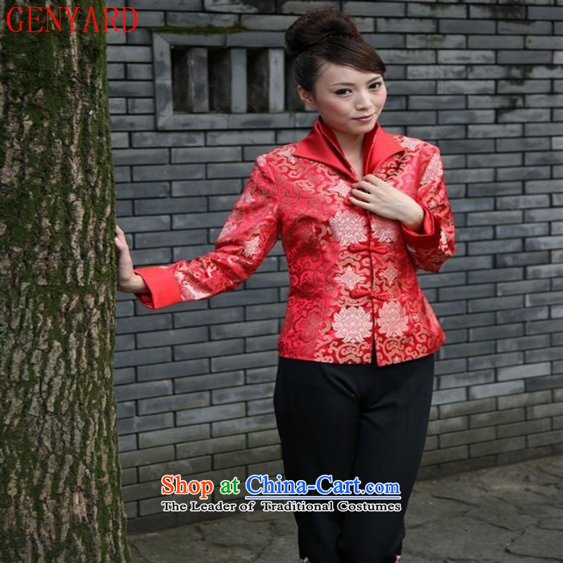 Ms. older GENYARD Tang dynasty during the spring and autumn load improved stylish Chinese long-sleeved top middle-aged moms-Neck Jacket mother-pack Black聽XXXXL