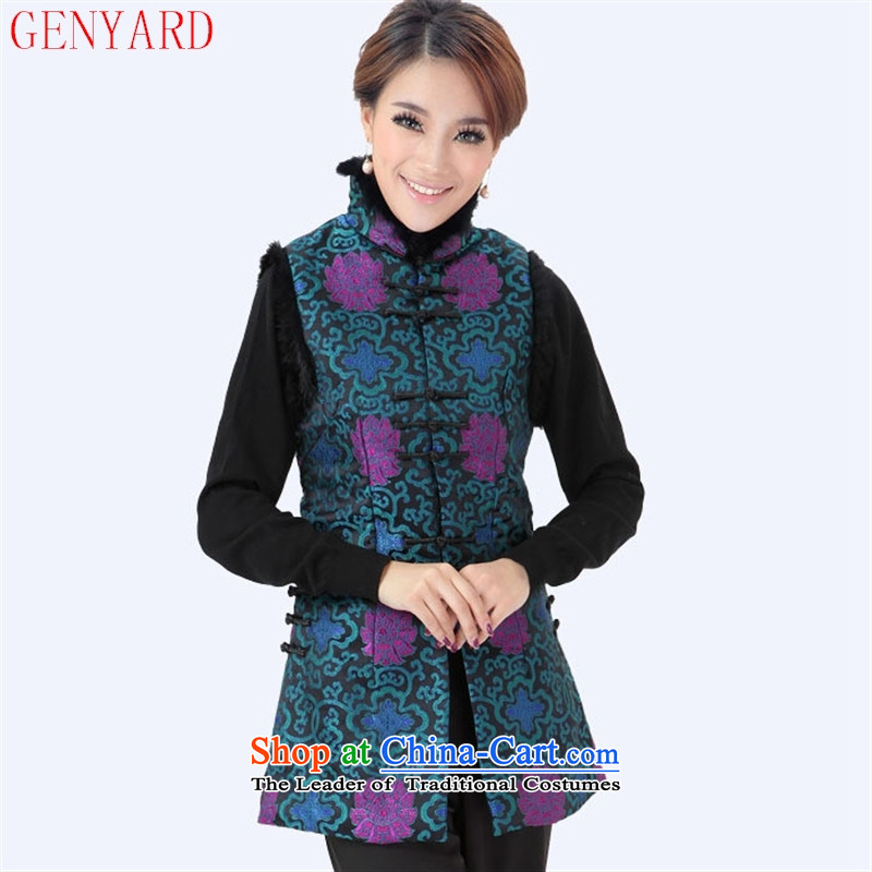 In the winter of older reinserted GENYARD cotton coat Tang Gown, a vest yi leisure rabbit hair cloak mother cotton vest mother blue?XXL