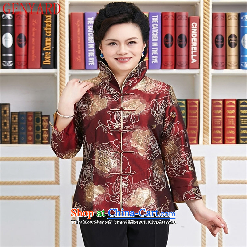 Genyard2015 spring and summer new Tang dynasty women clothes embroidery Chinese Jacket Foutune of video to disc is deducted thin collar mother燲XXL red