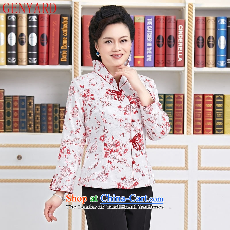 The elderly in the spring and autumn hotel GENYARD replacing workers serving tea attendants Tang Dynasty Chinese female resident tea master long-sleeved clothing mother loaded blue flowers�XXXL