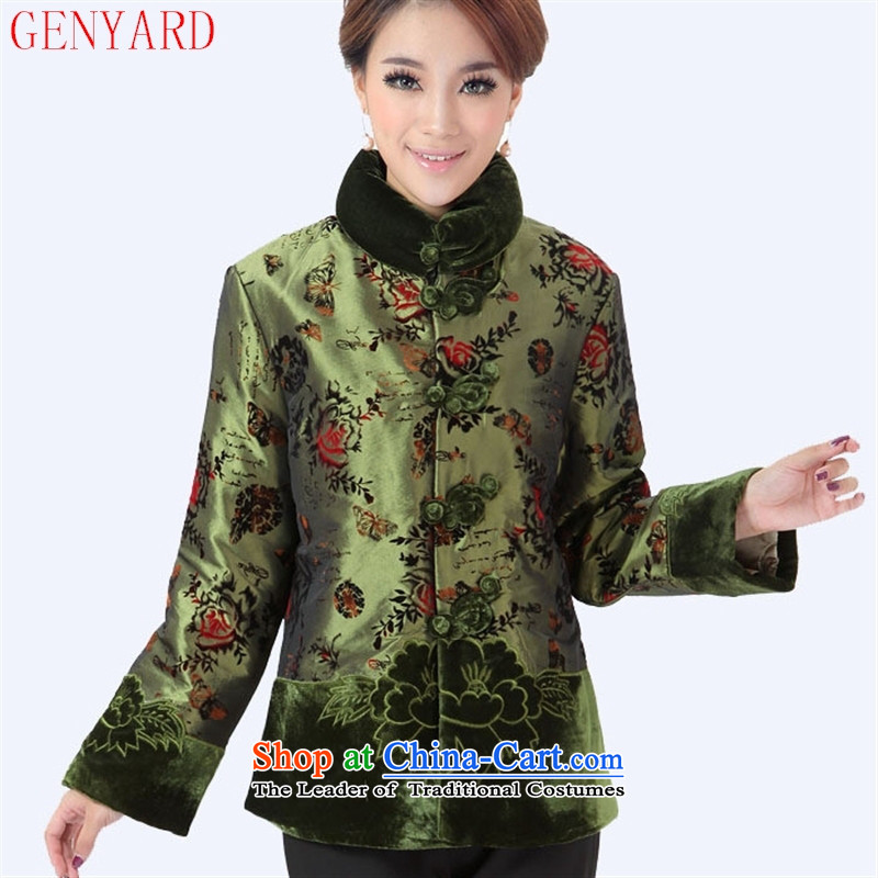 Ms. older GENYARD Tang dynasty women women's cotton clothing Chinese shirt Fall/Winter Collections cotton robe MOM pack green services XL