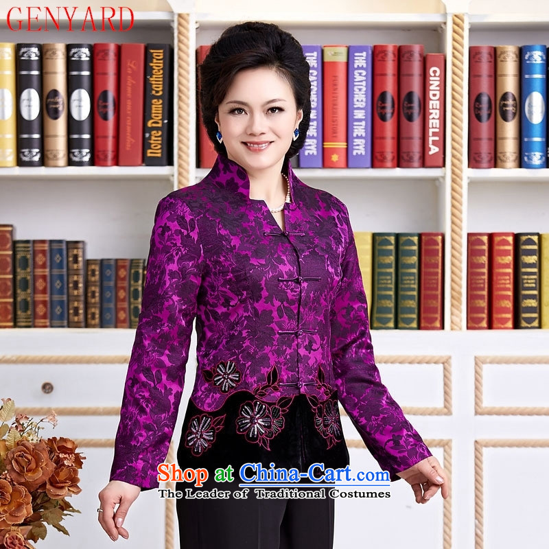 The elderly in new GENYARD female Chinese Tang blouses jacket festive Tang dynasty mother replacing invitation mother replacing purple M