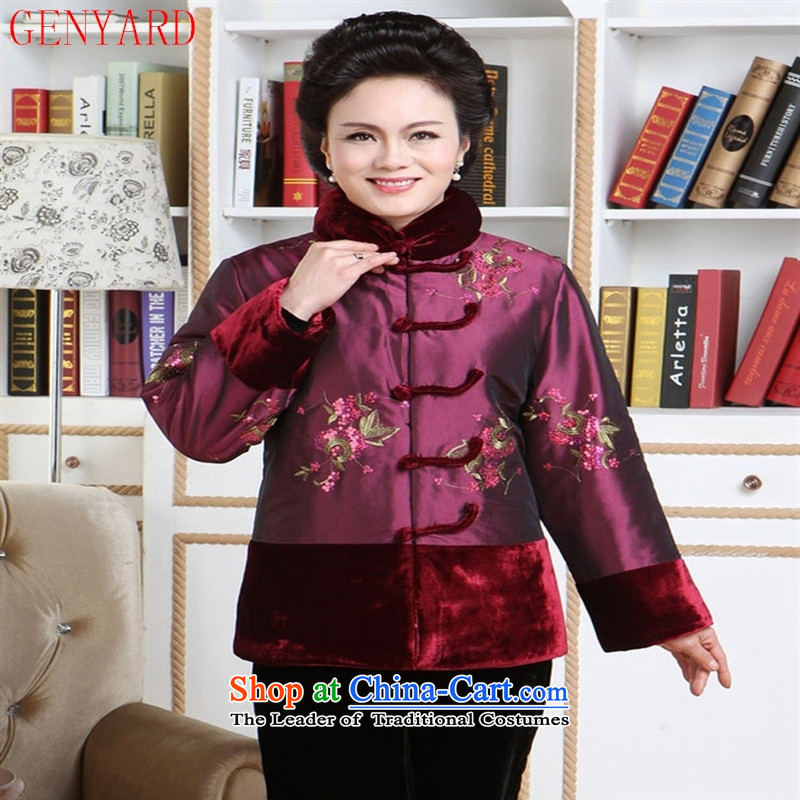 The elderly in the new mother GENYARD style Chinese robe embroidered jacket coat Tang Dynasty Ms. Tang dynasty cotton 2105 mother replacing red聽XXXXL