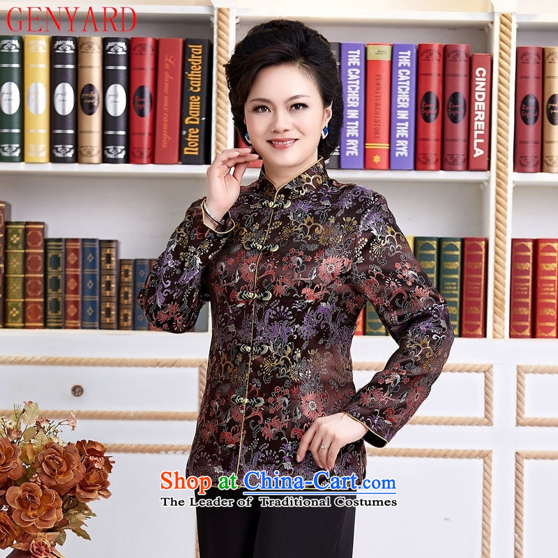 The elderly in new GENYARD ethnic Chinese President Tang dynasty improved long-sleeved load spring and autumn mother blouses women's mother聽XXXL red