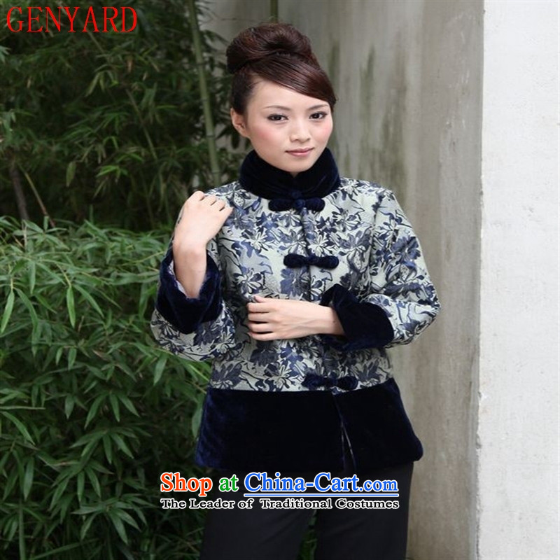 The elderly in the Tang dynasty GENYARD stylish Ms. Tang dynasty winter coat cotton coat long-sleeved jacket cotton mother Fall/Winter Collections mother blue�XL