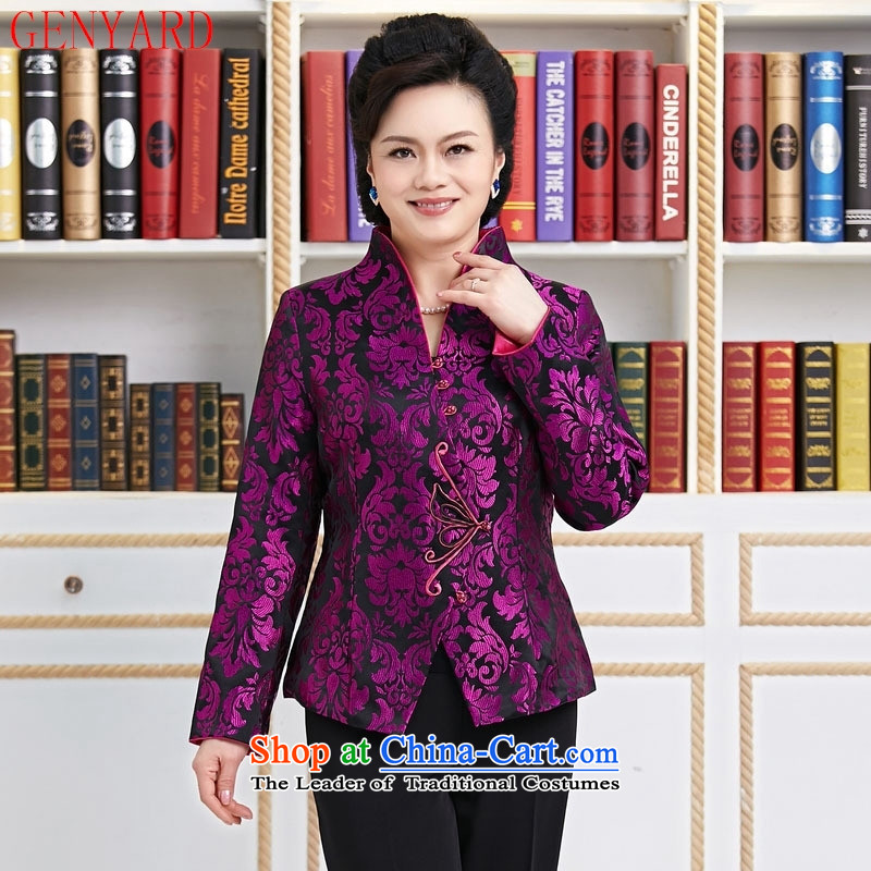 Ms. older GENYARD Tang dynasty Long-sleeve temperament as the spring and autumn jacket decorated mother coat purple mother replacing purple燤