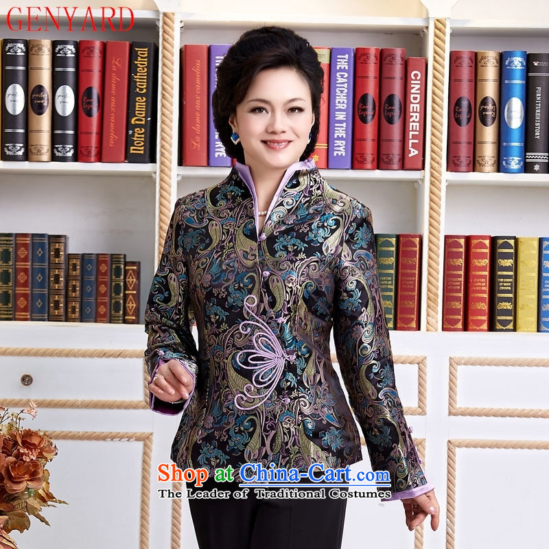 The elderly in accordance with tang GENYARD Yung-chun tang blouses jacket, Tang dynasty MOM Pack Black聽XXXXL