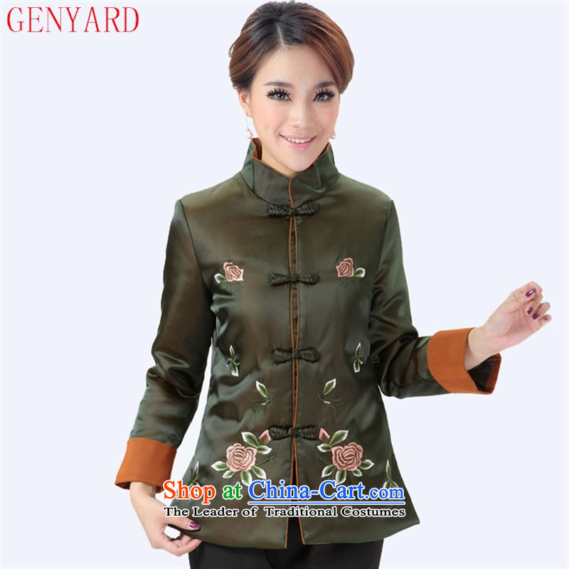 The elderly mother GENYARD winter Ms. Winter embroidery peony flowers long-sleeved jacket coat Tang dynasty 298 mother replacing dark red聽XXXL
