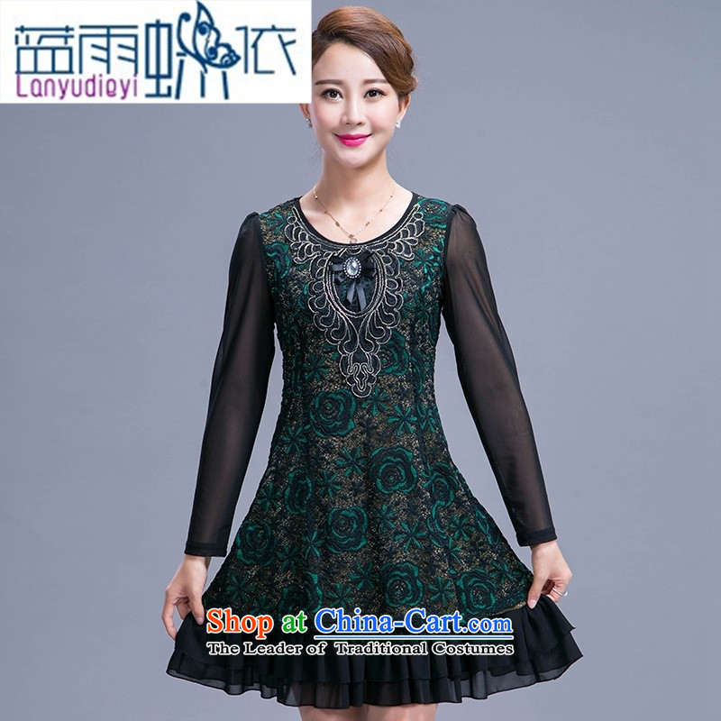September female shop in women's older large middle-aged moms with autumn replacing dresses in the long years of long-sleeved green 40-50聽XL