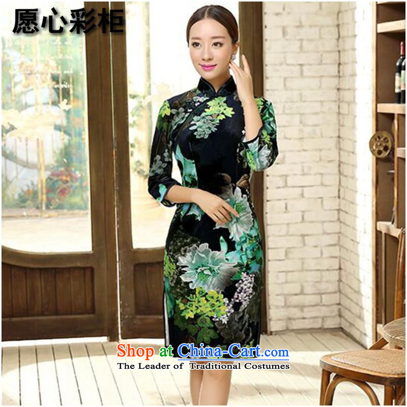 To heart multimedia cabinet, Sau San video thin Chinese qipao bride wedding dress scouring pads improved China wind collar poster qipao Figure Color燲L