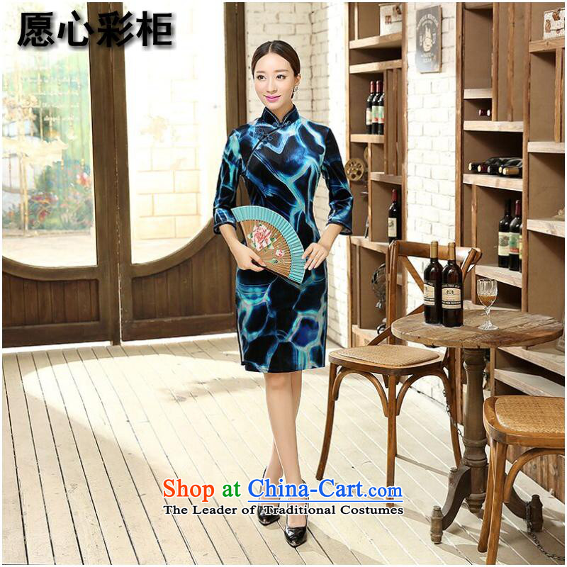 To heart multimedia cabinet, Sau San video thin CHINESE CHEONGSAM elegant bride wedding dress Stretch Wool improved China wind collar qipao Figure?2XL color