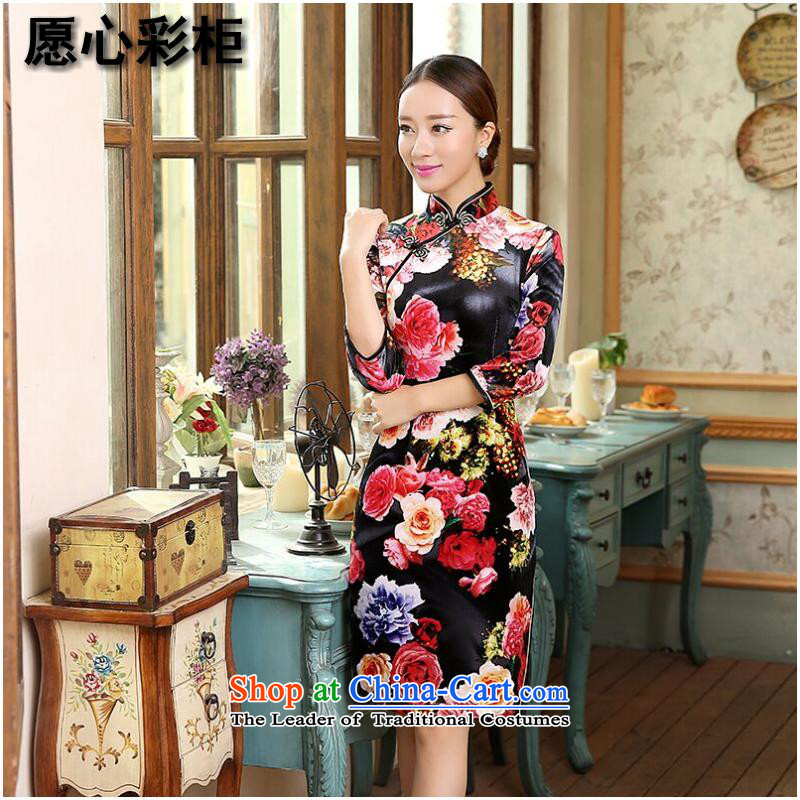 To heart multimedia cabinet, Sau San video thin Chinese qipao bride wedding dress Stretch Wool improved China wind collar short qipao Figure Color燲L