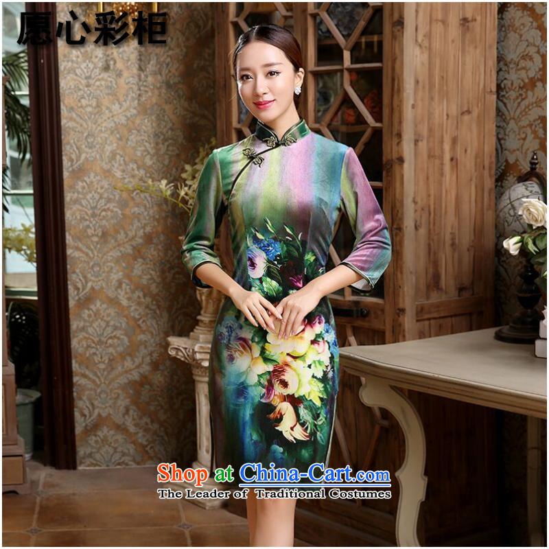 To heart multimedia cabinet, Sau San video thin brides cheongsam wedding dress Stretch Wool improved China wind short qipao Figure Color燬