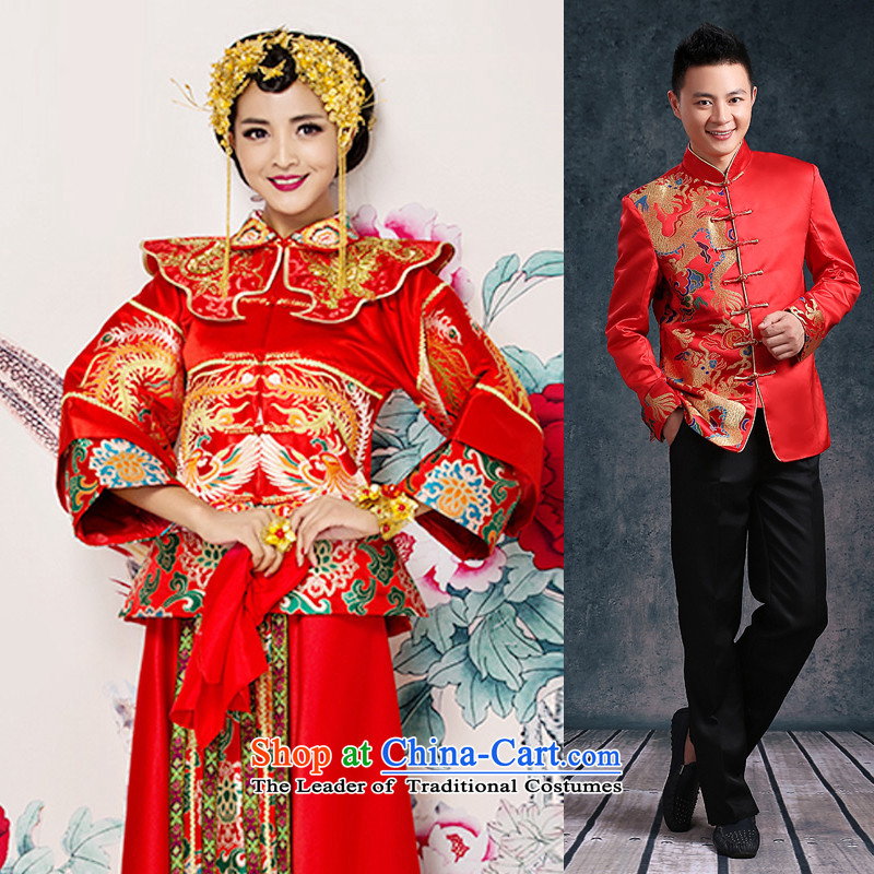 Bathing in the爊ew 2015 Yao Chinese bows to Sau Wo Service 2 piece long-sleeved long Dragon Chinese Dress pregnant women use brides fall and winter larger embroidery marriage solemnisation women + recommended men _contact customer service note size M ches