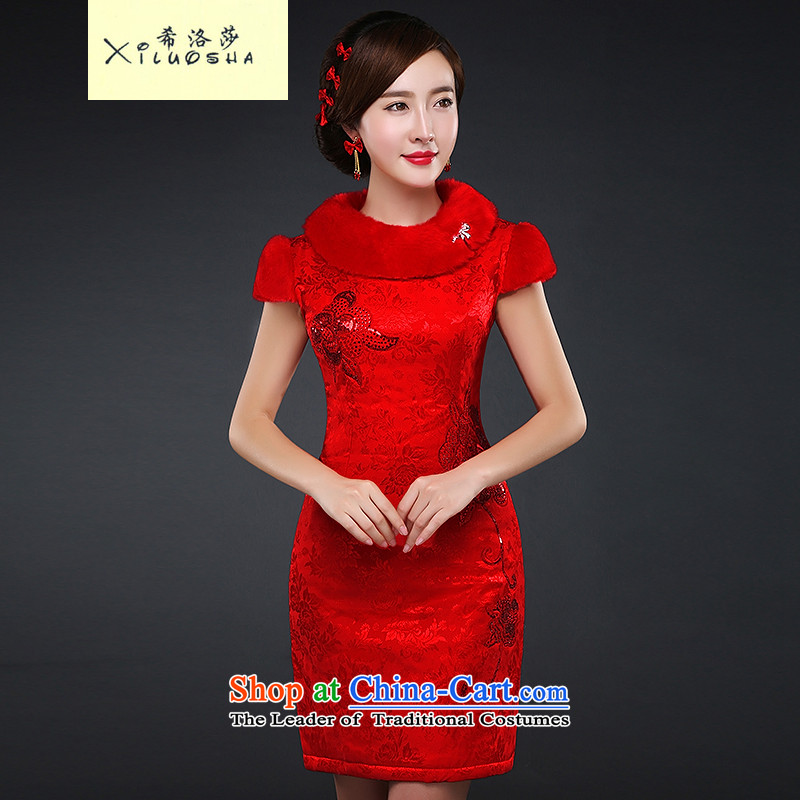 Hillo Lisa _XILUOSHA_ plus cotton short of qipao gown bride Chinese wedding wedding dress cheongsam dress red 2015 Marriage autumn and winter new red燲XL