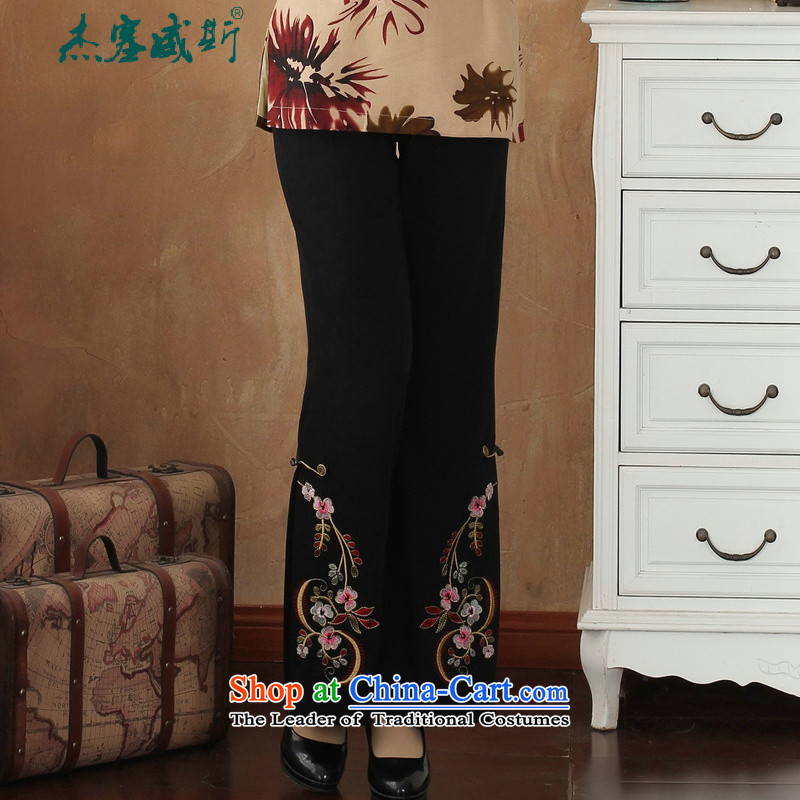 Jie in the autumn and winter Women's clothes thick) Chinese clothing embroidered ethnic ladies pants Tang pants trousers?-1 embroidery?L