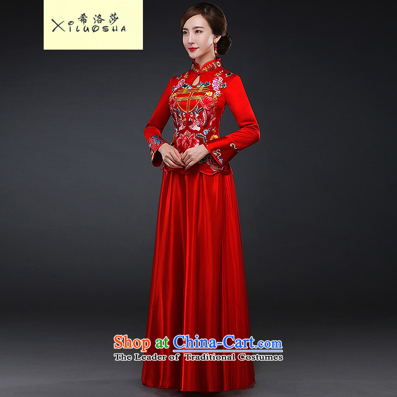 Hillo Lisa _XILUOSHA_ Bride bows services?Qipao Length of Chinese wedding dress 2015 new long-sleeved red retro autumn and winter Sau San Red燬