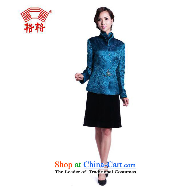 The interpolator qipao 2015 autumn and winter female new Tang long-sleeved blouses silk temperament mother, herbs extract festive women?3XL blue