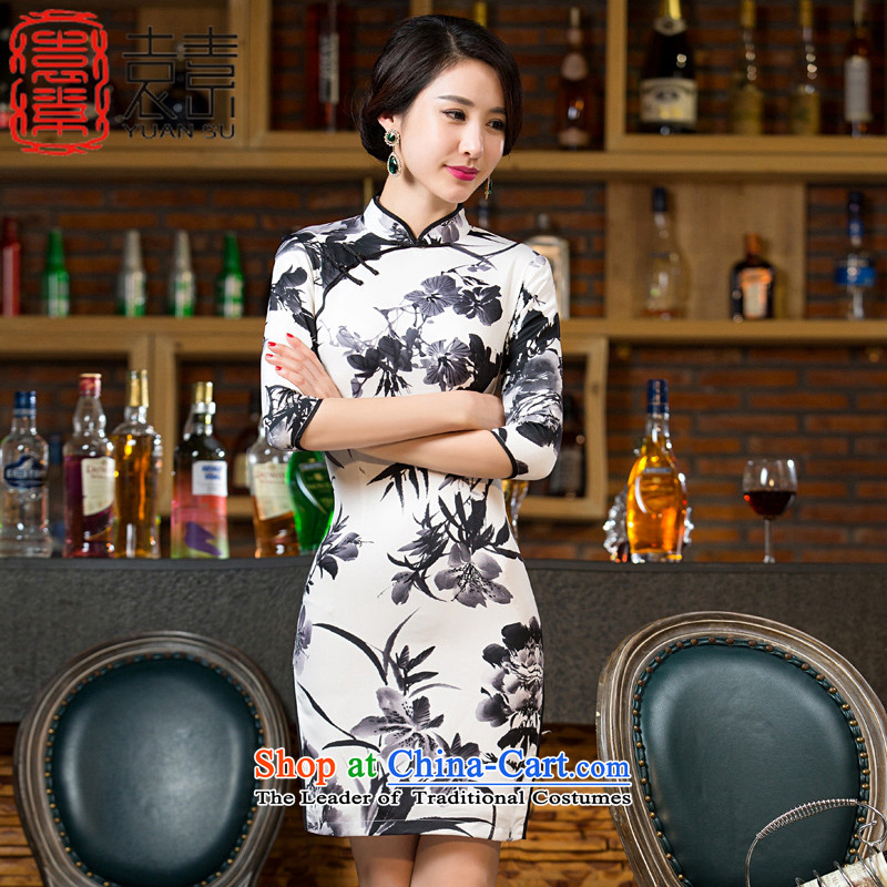 Yuan of bamboo rhythm 2015 paintings in the autumn of qipao load retro cheongsam dress new stylish 7 Ms. cuff improved cheongsam dress M11041 White M