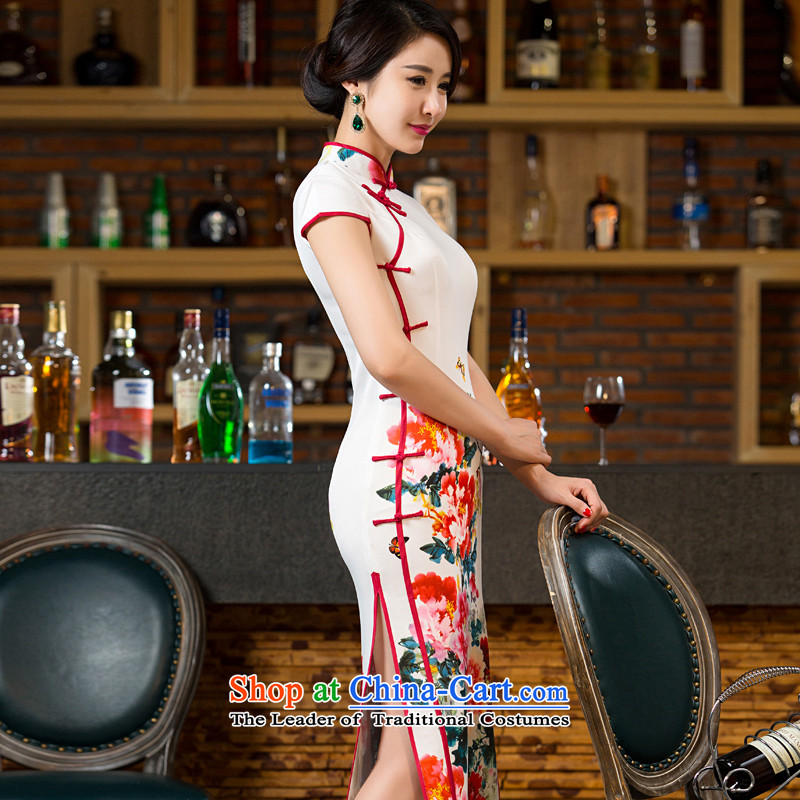 Yuan of bloom on the new 2015 skirt autumn load improvement qipao cheongsam dress in long double long cheongsam look stylish retro M12038 White XL, YUAN YUAN (SU) , , , shopping on the Internet