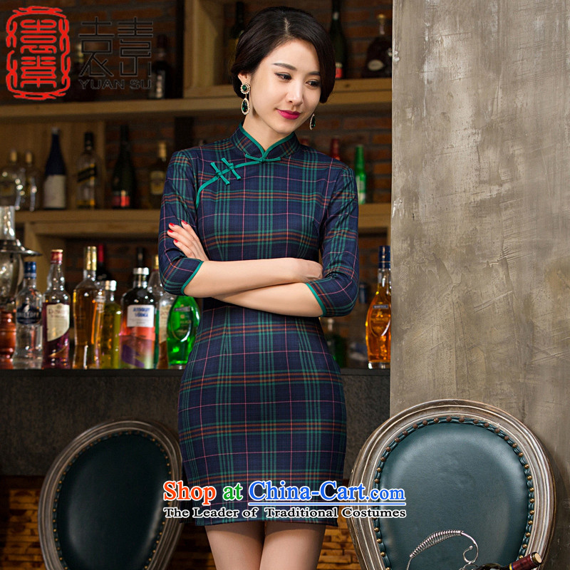 Yuan of style爍ipao autumn 2015 improved load Grid qipao skirt new stylish retro 7 Ms. cuff cheongsam dress燤55142爂reen燣