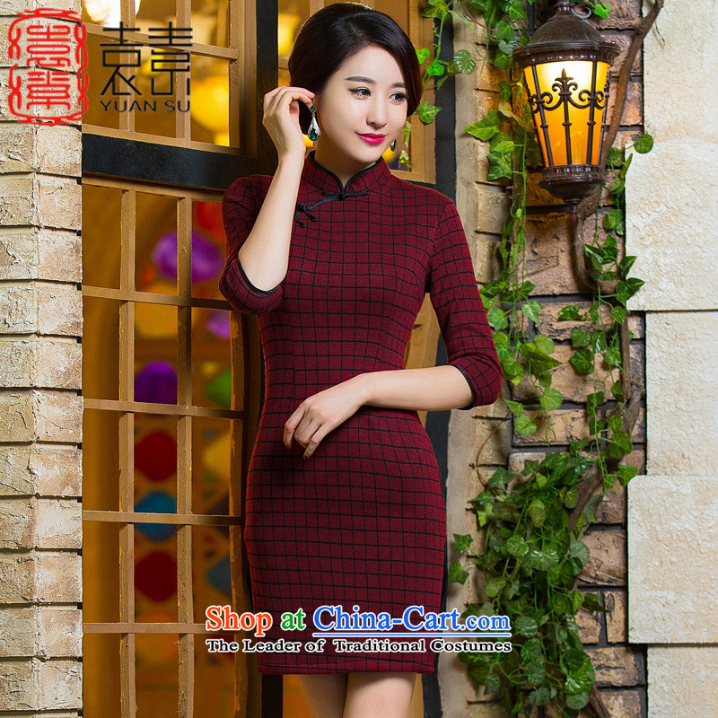 The breakdown of?2015 of Yuan Fall/Winter Collections qipao improved gross? In long knitting cheongsam dress) New Ms. retro cheongsam dress?QD298?dark red?L